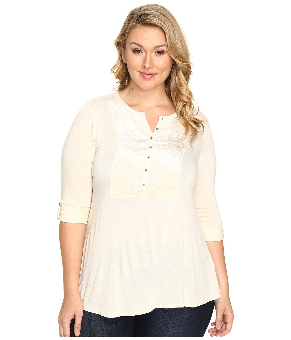 Lucky Brand - Plus Size Burnout Velvet Bib Top (Birch) Women's Clothing