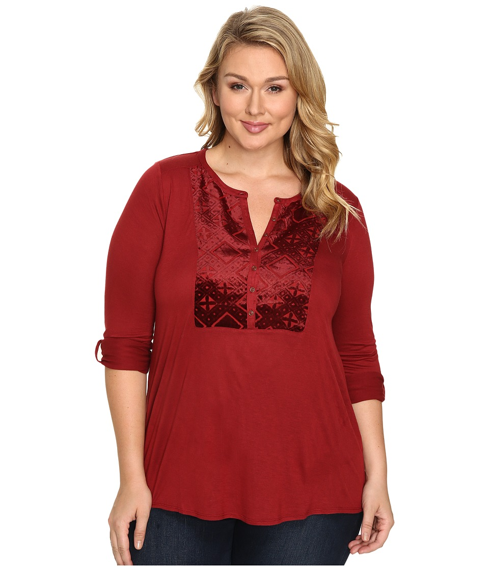 Lucky Brand - Plus Size Burnout Velvet Bib Top (Merlot) Women's Clothing