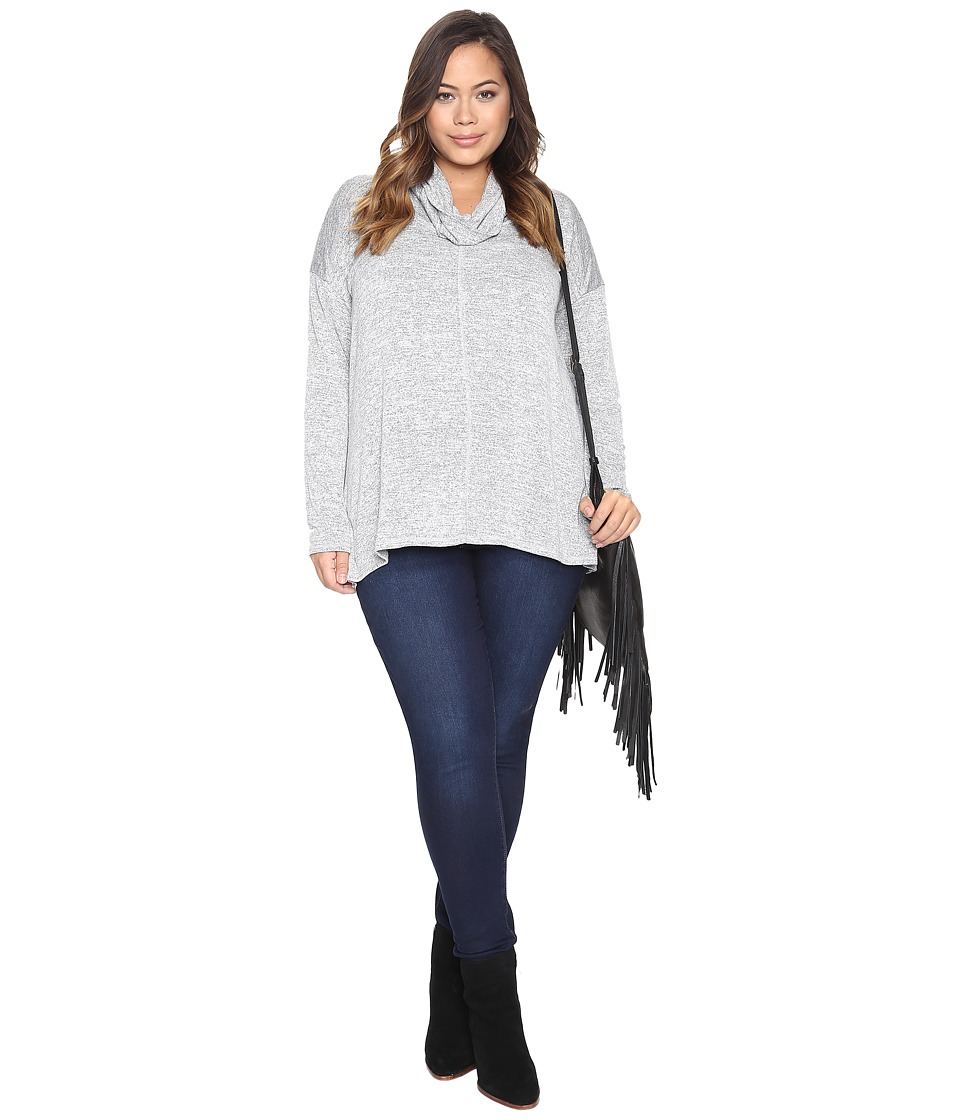 Lucky Brand - Plus Size Cowl Neck Tunic (Heather Grey) Women's Clothing