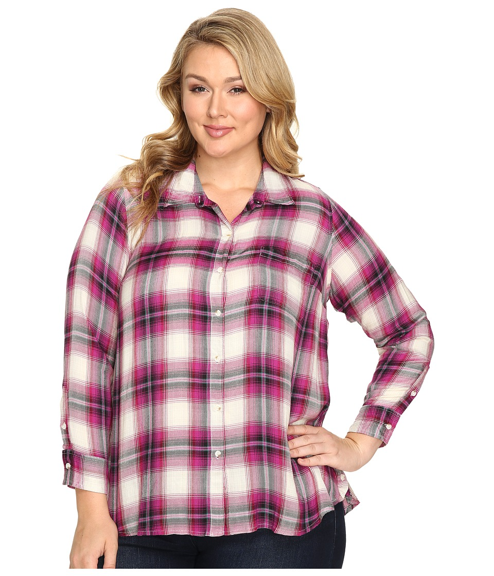 Lucky Brand - Plus Size Button Side Body (Pink Multi) Women's Clothing