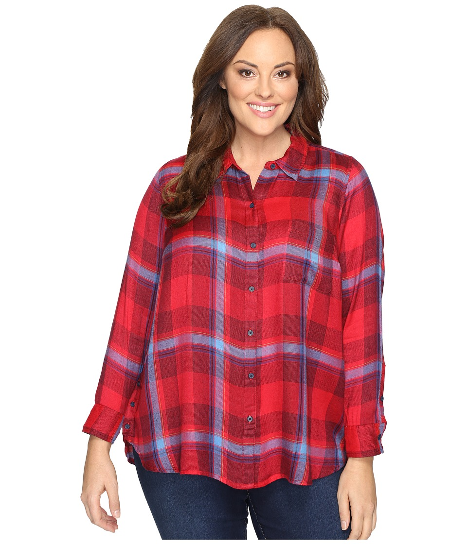 Lucky Brand - Plus Size Button Side Body (Red Multi) Women's Clothing