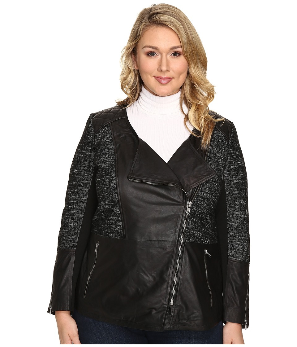 Lucky Brand - Plus Size Moto Jacket (Black Beauty) Women's Coat