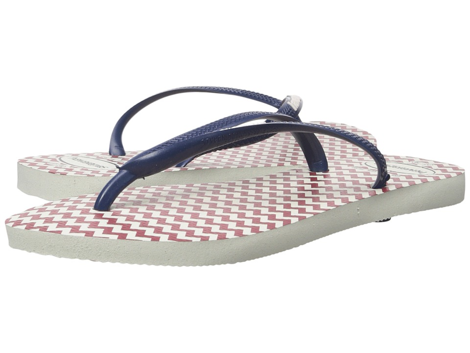 Havaianas - Slim Retro Flip Flops (White/Navy Blue) Women's Sandals