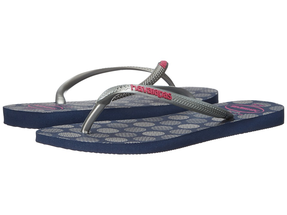 Havaianas - Slim Retro Flip Flops (Navy Blue/Silver) Women's Sandals