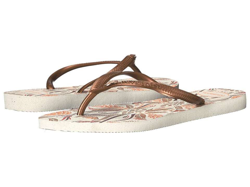 Havaianas Slim Royal Flip Flops (White/Cooper) Women