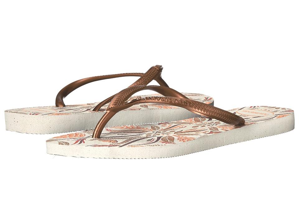 Havaianas - Slim Royal Flip Flops (White/Cooper) Women's Sandals