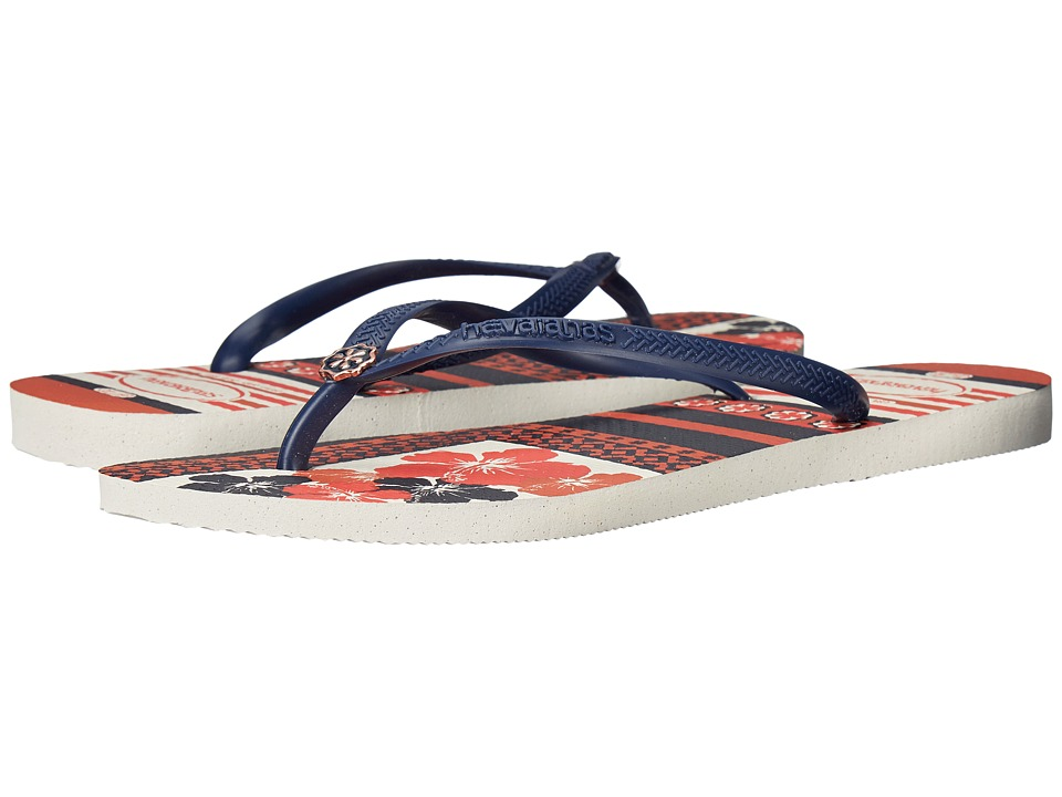 Havaianas - Slim Thematic Flip Flops (White/Navy Blue) Women's Sandals
