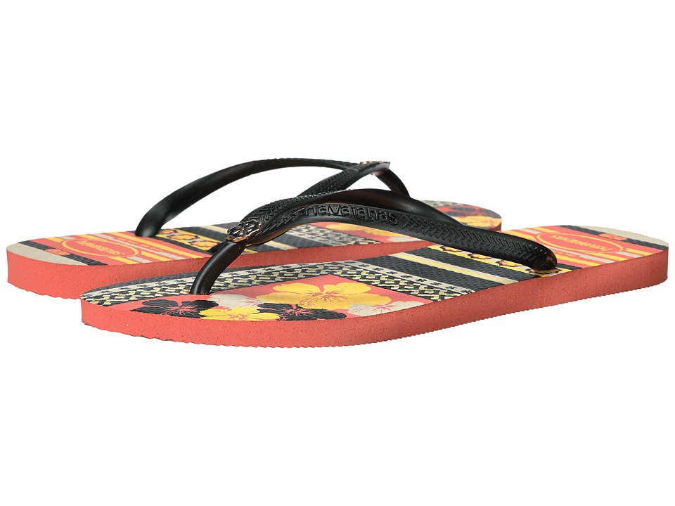 Havaianas - Slim Thematic Flip Flops (Orange Cyber) Women's Sandals