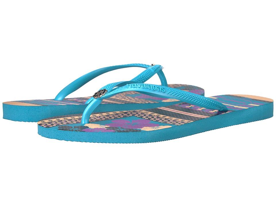 Havaianas - Slim Thematic Flip Flops (Blue) Women's Sandals