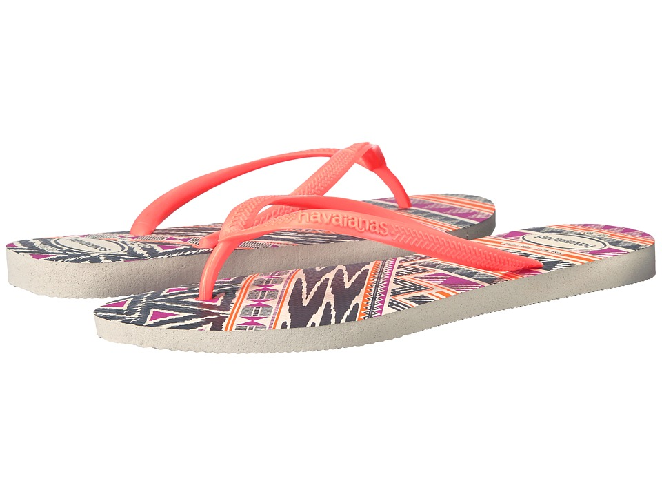 Havaianas - Slim Tribal Flip Flops (White/Orange) Women's Sandals