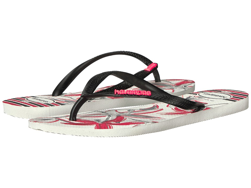 Havaianas Slim Tropical Flip Flops (White/Black) Women