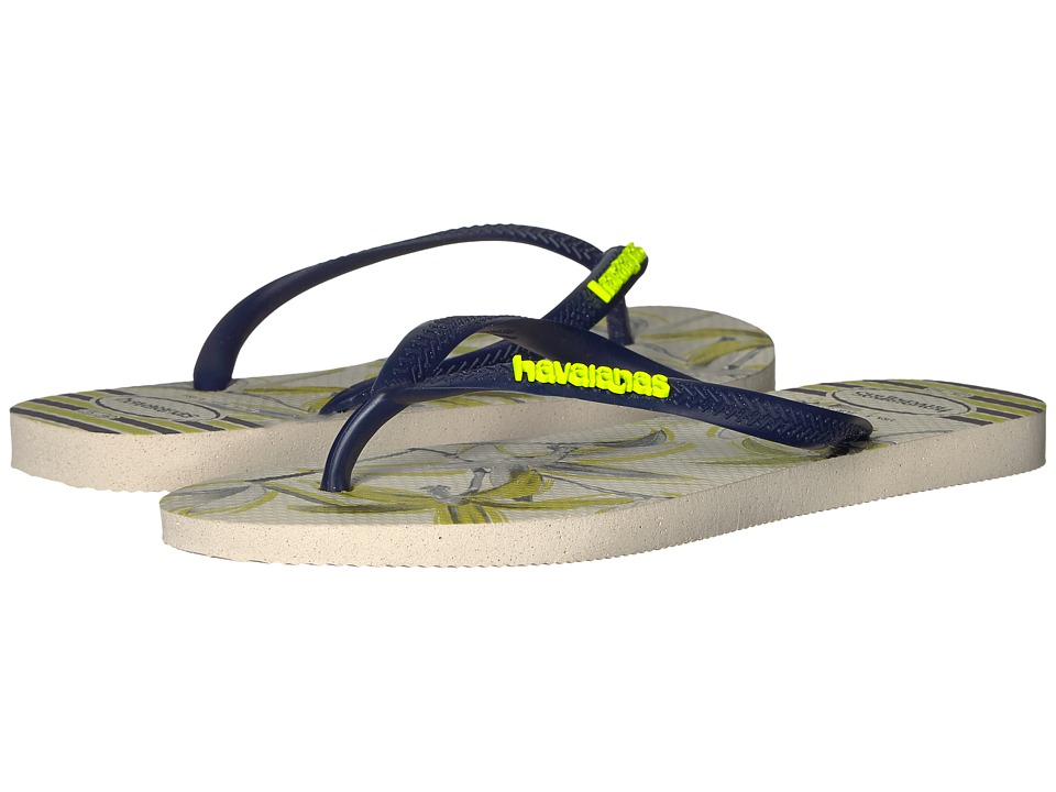 Havaianas Slim Tropical Flip Flops (Beige/Navy Blue) Women