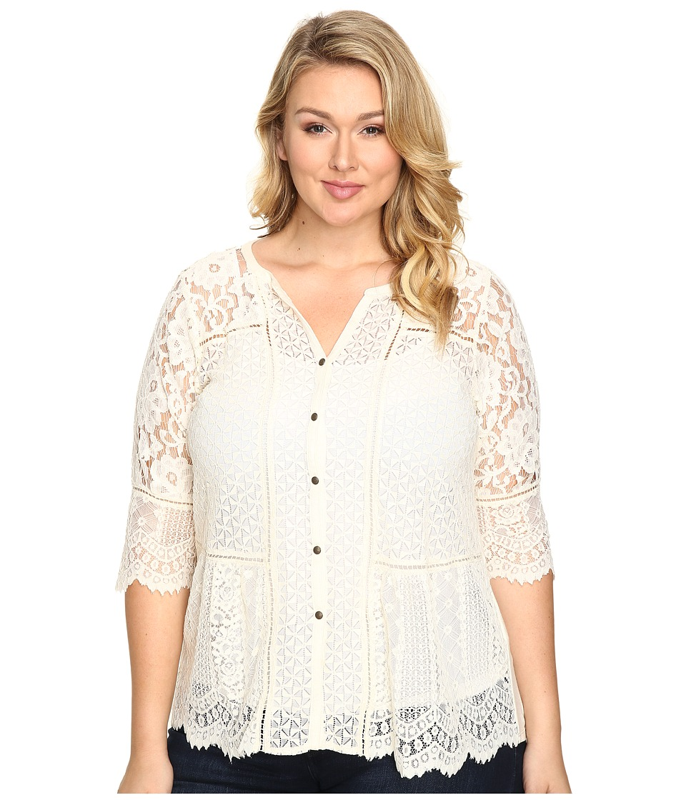 Lucky Brand - Plus Size Lace Mix Top (Birch) Women's Clothing