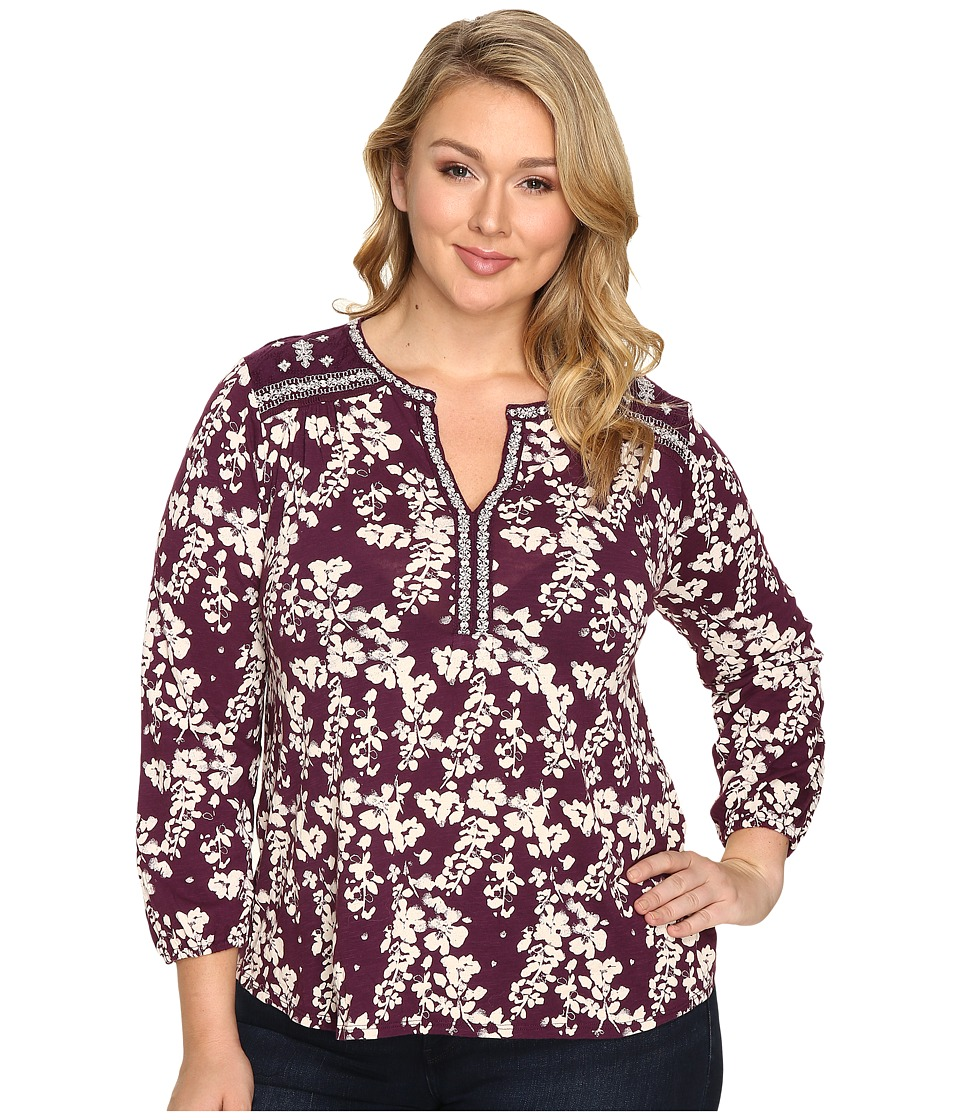 Lucky Brand - Plus Size Mixed Peasant Top (Winter Bloom) Women's Clothing
