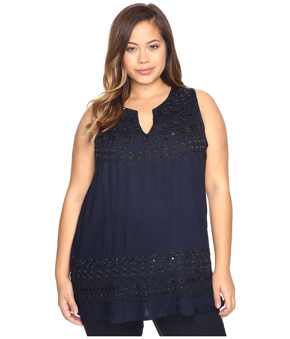 Lucky Brand - Plus Size Embellished Knit Back Top (Indigo Multi) Women's Clothing