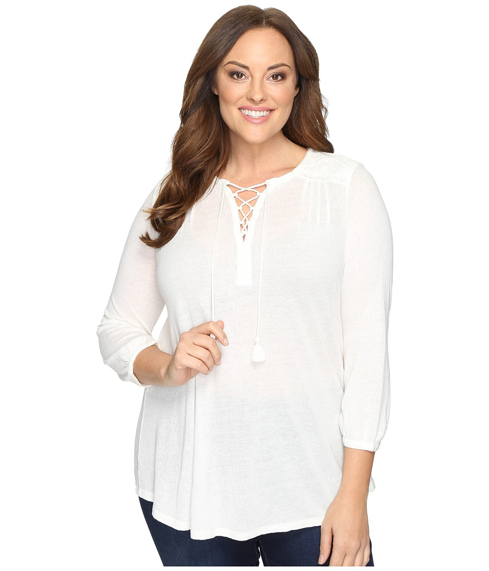 Lucky Brand - Plus Size Lace Front Peasant (Marshmallow) Women's Clothing
