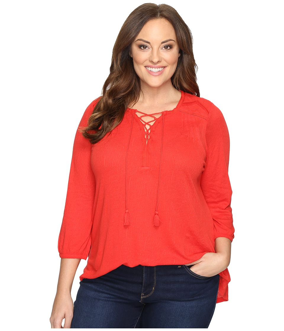 Lucky Brand - Plus Size Lace Front Peasant (Goji Berry) Women's Clothing