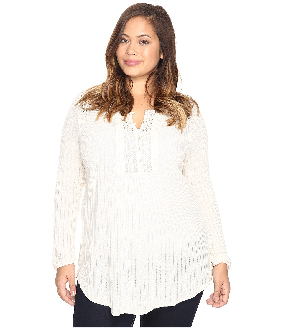Lucky Brand - Plus Size Drop Needle Knit Top (Oatmeal) Women's Clothing