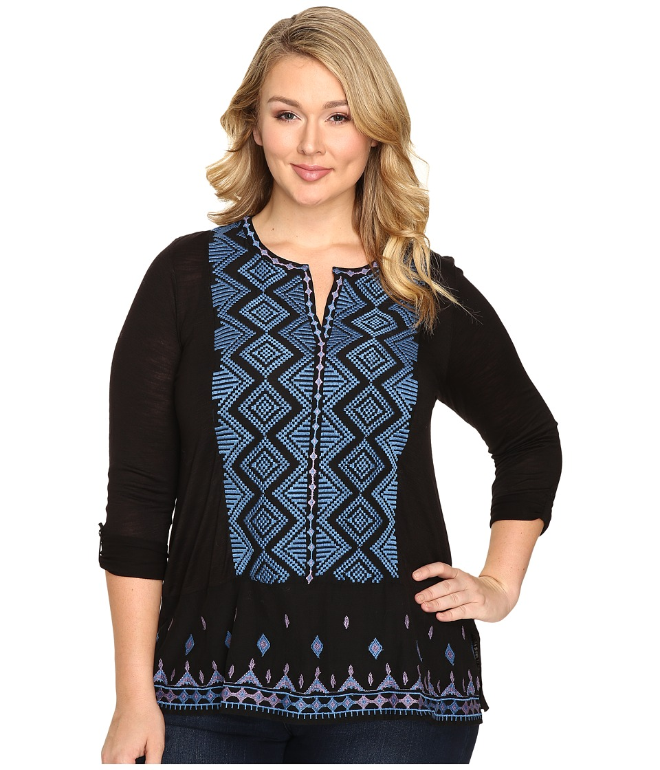 Lucky Brand - Plus Size Embroidered Top (Black Multi) Women's Clothing