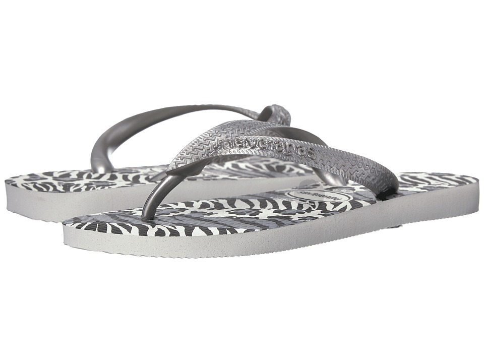 Havaianas Top Animals Flip Flops (White/Silver/Black) Women