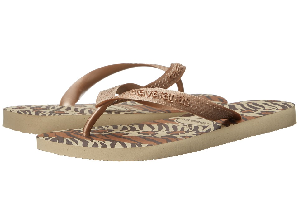 Havaianas Top Animals Flip Flops (Sand Grey/Rose Gold) Women