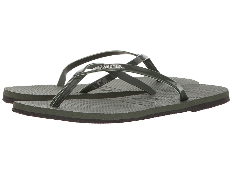 Havaianas - You Metallic Flip Flops (Green Olive) Women's Sandals