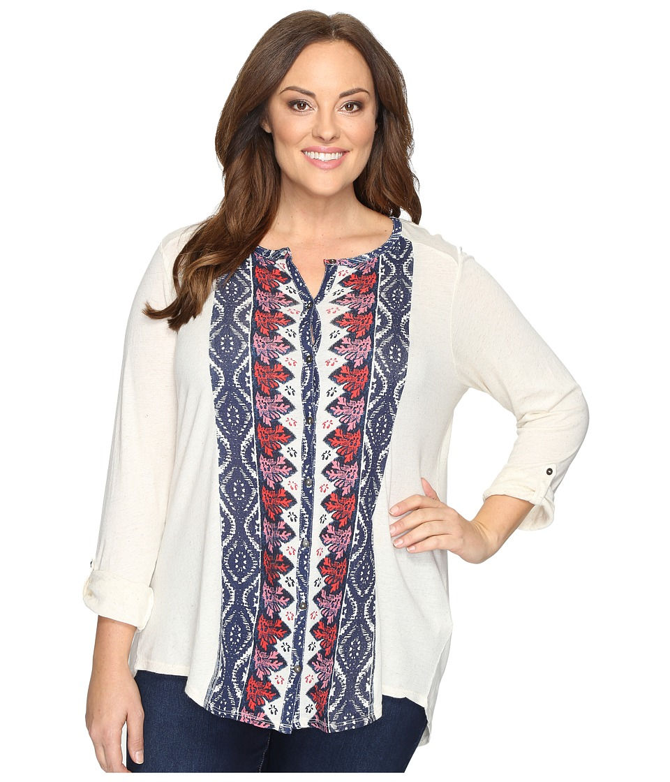 Lucky Brand - Plus Size Placed Print Top (Natural Multi) Women's Clothing
