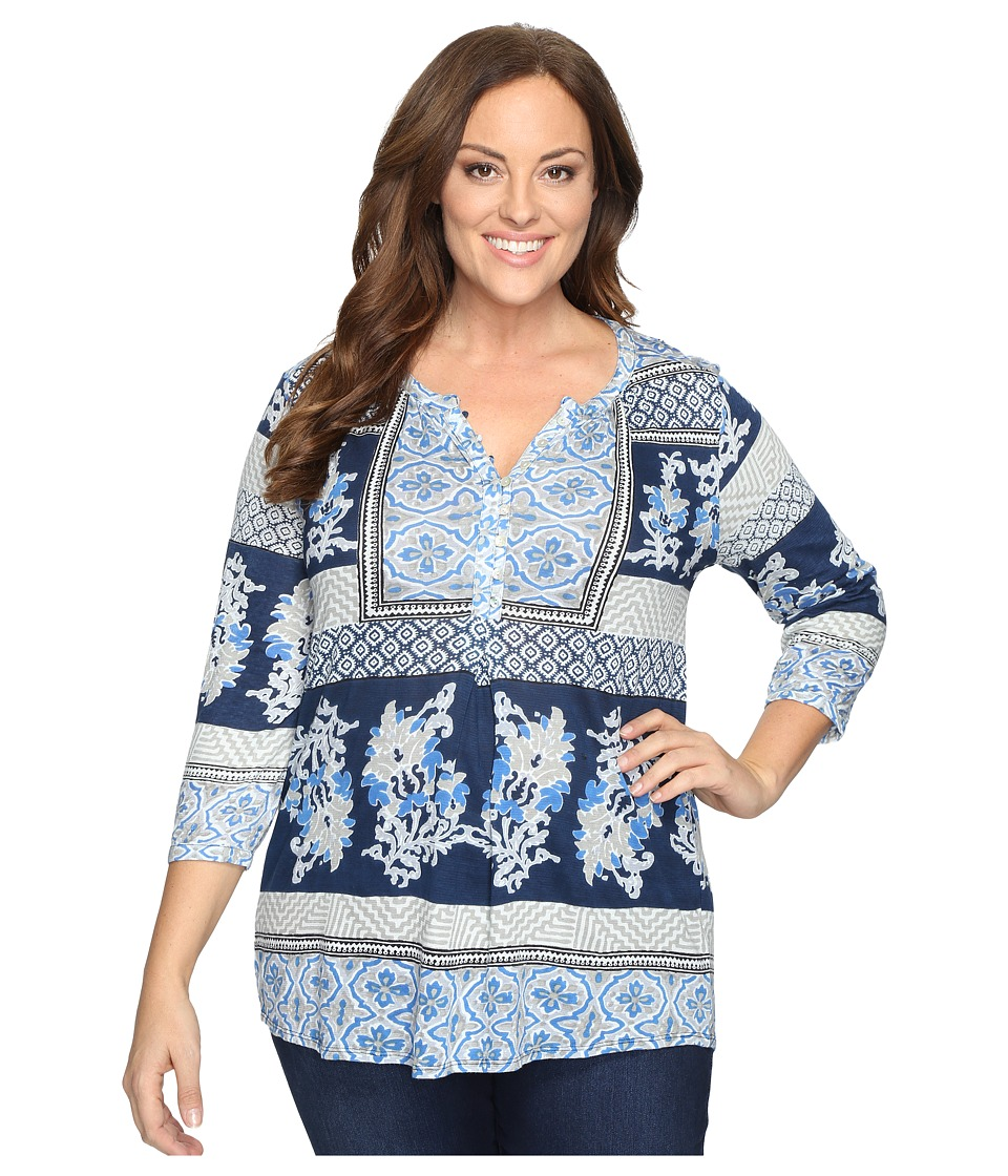 Lucky Brand - Plus Size Printed Knit Top (Blue Multi) Women's Clothing