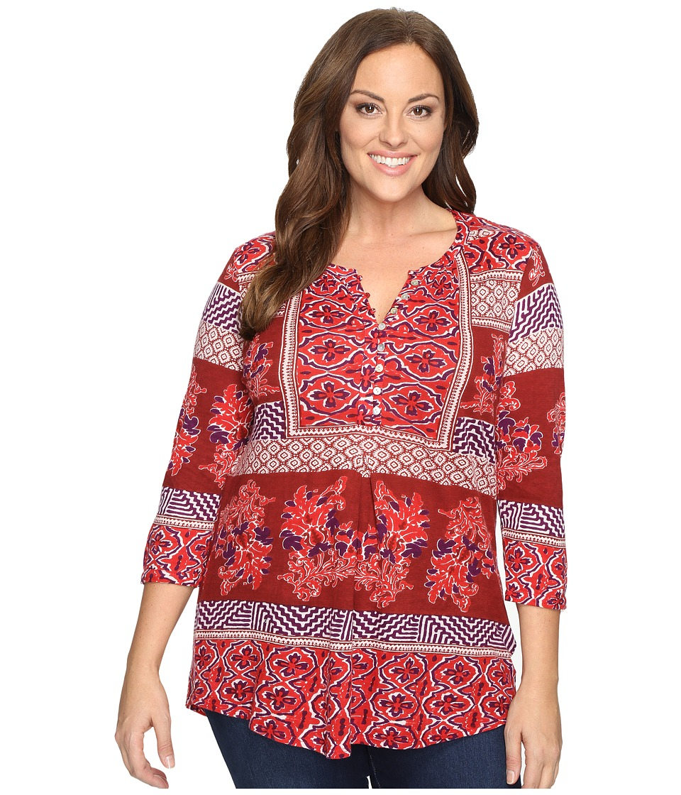 Lucky Brand - Plus Size Printed Knit Top (Red Multi) Women's Clothing