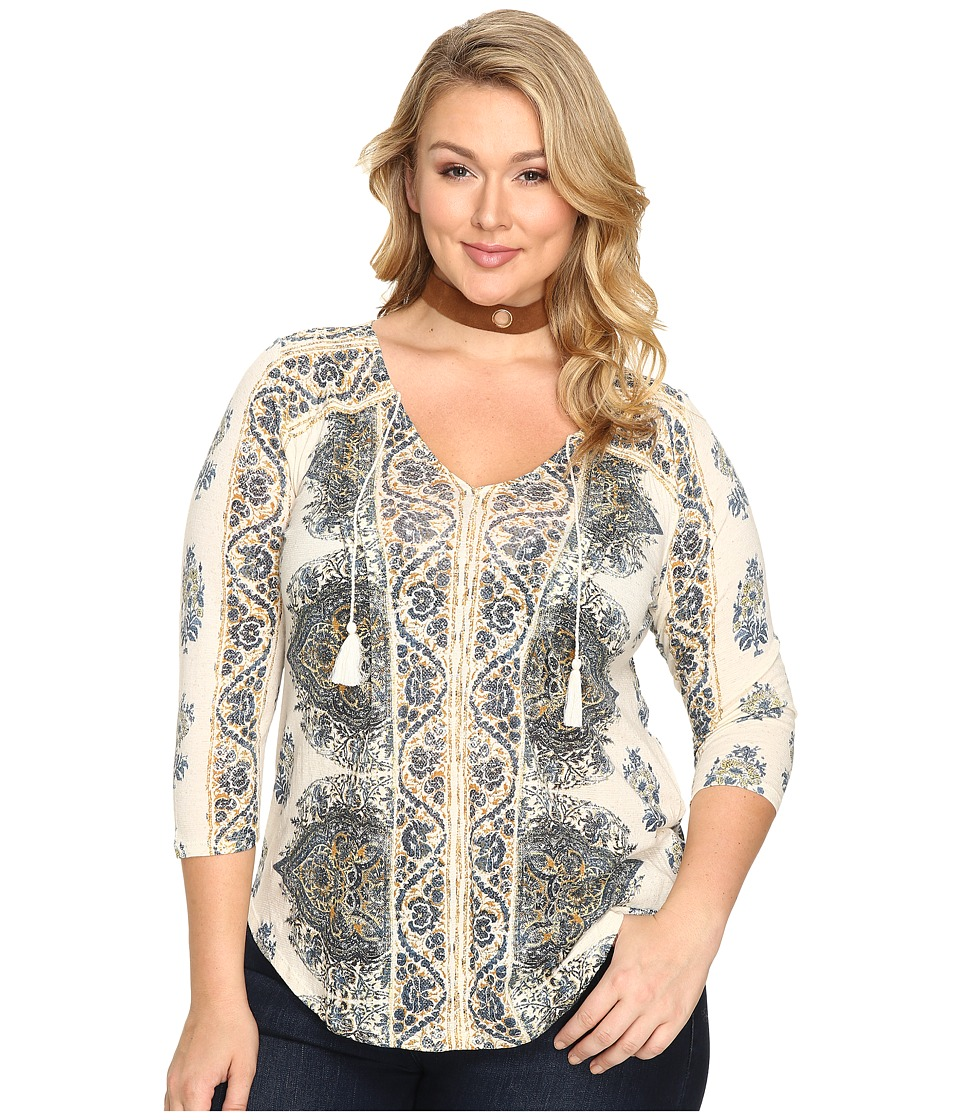 Lucky Brand - Plus Size Placed Print Top (Multi) Women's Clothing