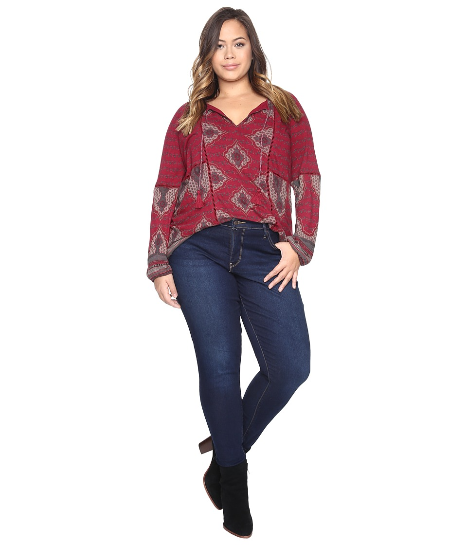 Lucky Brand - Plus Size Placed Print Top (Wild Currant) Women's Clothing