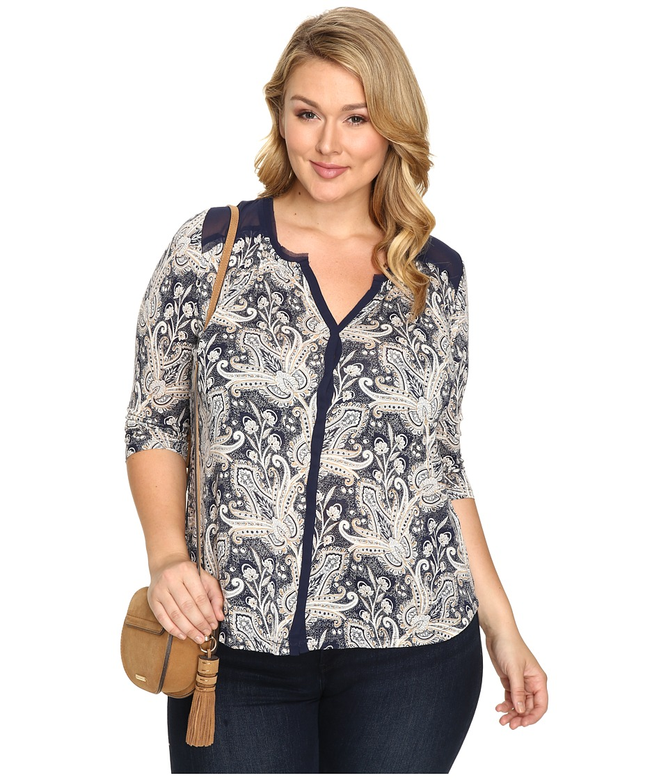 Lucky Brand - Plus Size Printed Woven Mix Top (Blue Multi) Women's Clothing