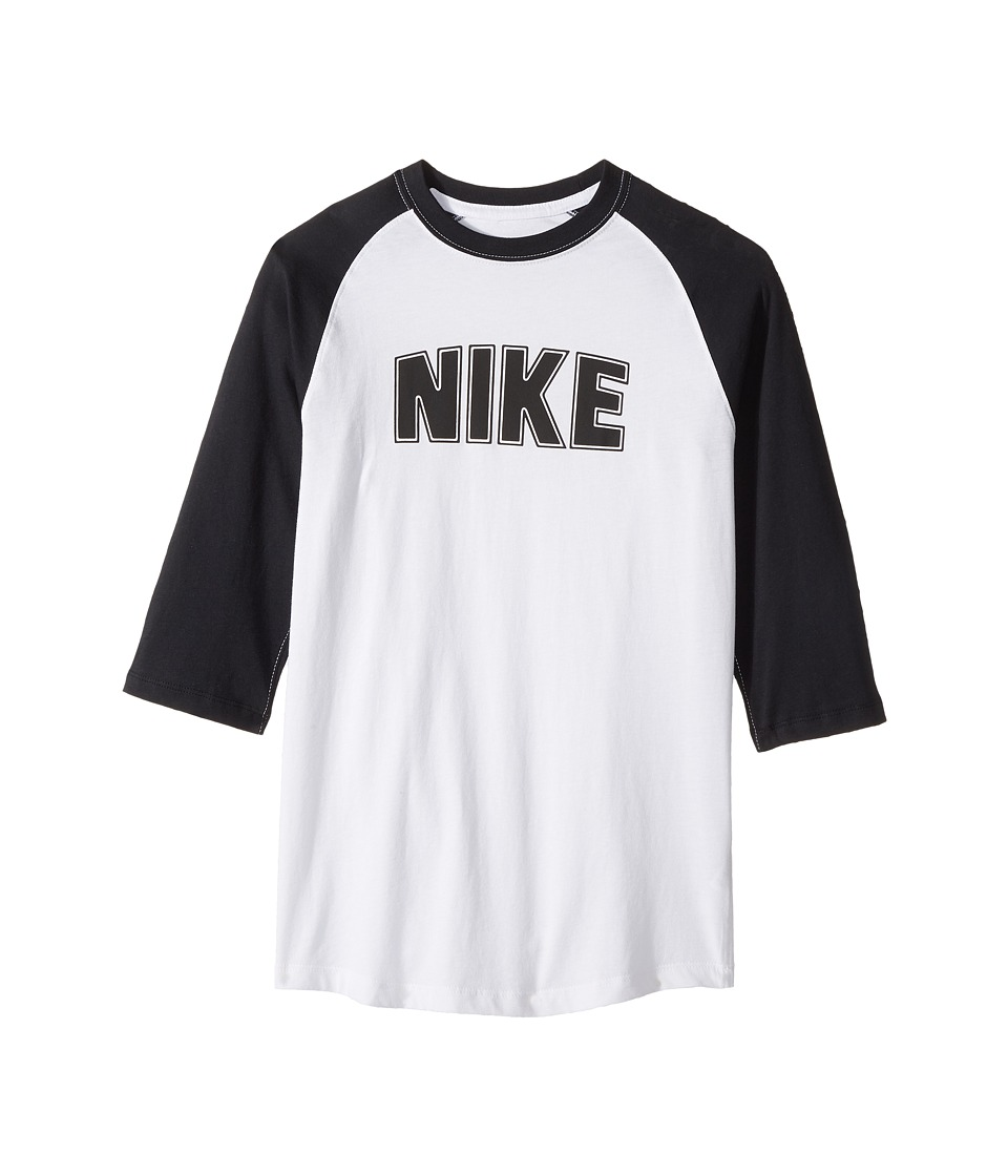 Nike Kids - Sportswear Raglan 3/4 Sleeve T-Shirt (Little Kids/Big Kids) (White/Black/Black) Boy's T Shirt