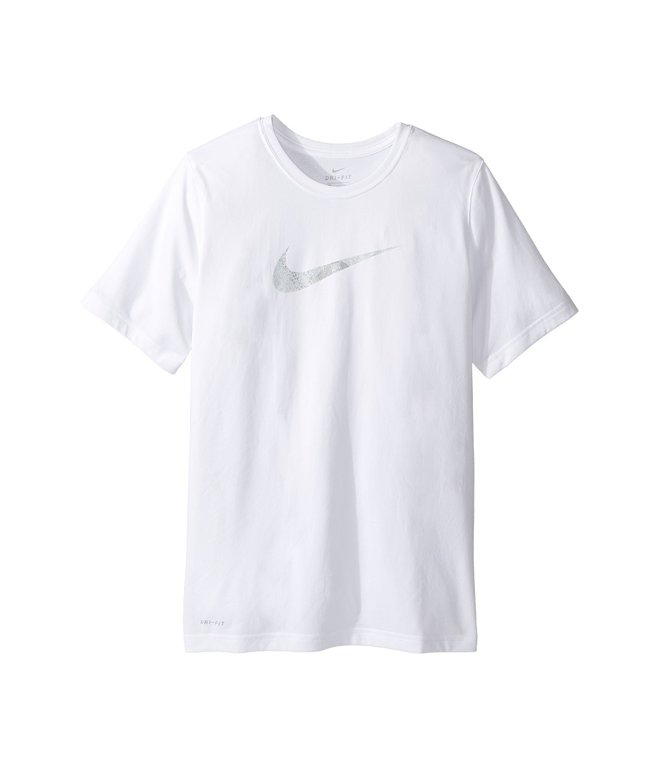 Nike Kids - Dry Carbon Swoosh Tee (Little Kids/Big Kids) (White/Pure Platinum) Boy's T Shirt