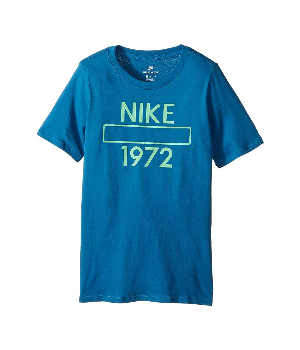 Nike Kids - Athletic Dept Short Sleeve Tee (Little Kids/Big Kids) (Industrial Blue/Tourmaline) Boy's T Shirt