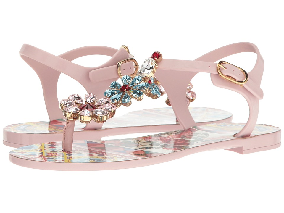 Dolce & Gabbana - Carretto Jelly Sandal with Swarovski Crystals (Light Pink) Women's Shoes