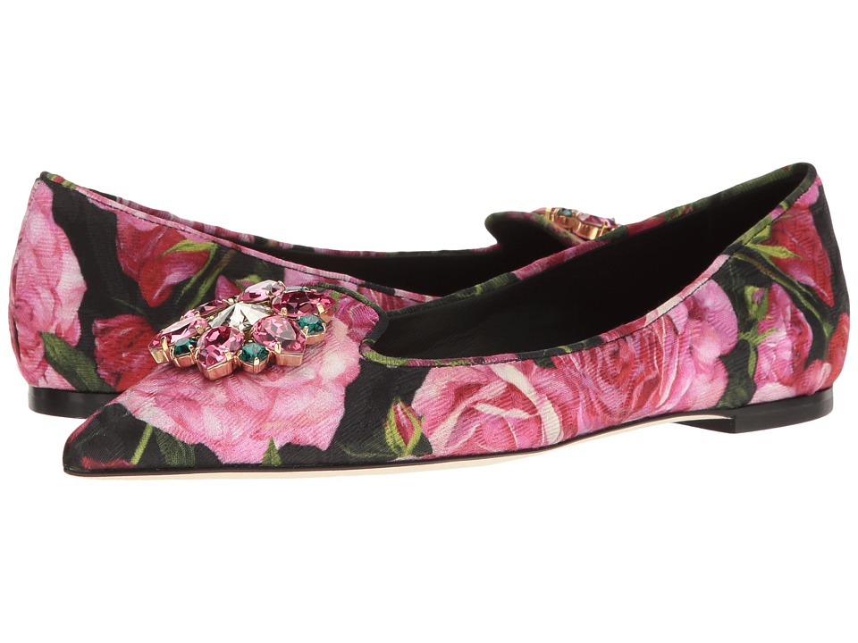 Dolce & Gabbana - Brocade Bellucci Skimmer with Swarovski Crystals (Rose Print) Women's Shoes