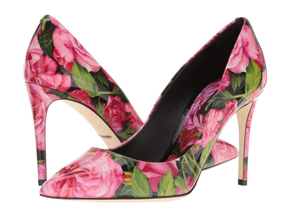 Dolce & Gabbana - Patent Kate Pump (Rose Print) Women's Shoes