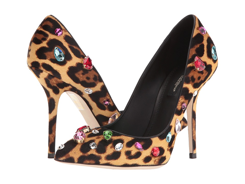 Dolce & Gabbana - Calf Hair Bellucci Pump with Swarovski Crystals (Leopard) Women's Shoes