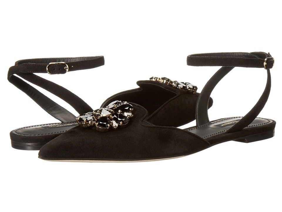 Dolce & Gabbana Suede Bellucci/Swarovski(r) Crystal Flat with Ankle Strap (Black) Women