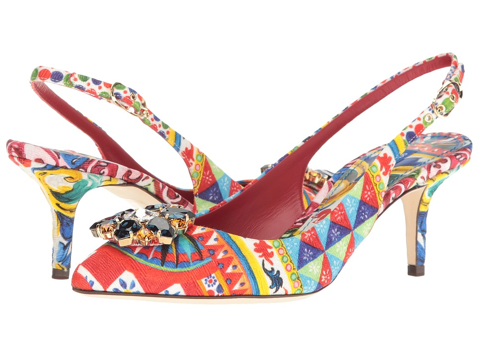 Dolce & Gabbana - St. Brocade Bellucci Slingback with Swarovski Crystals (Multi) Women's Shoes