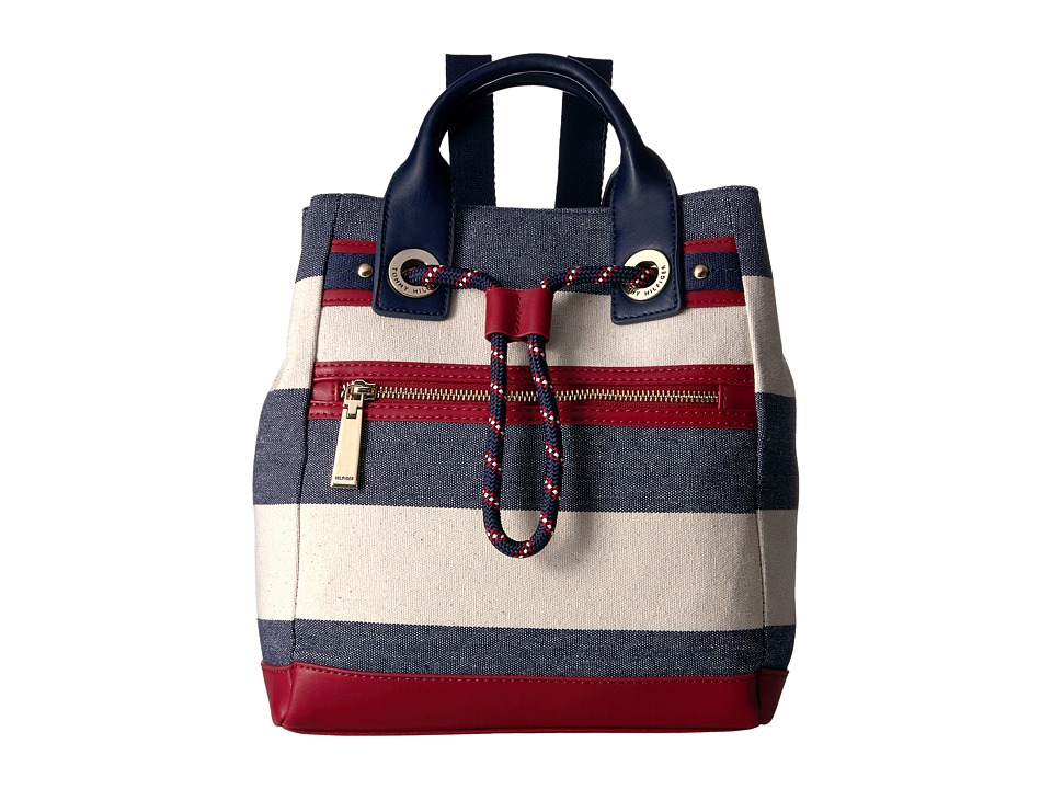 Tommy Hilfiger - Belen Backpack Woven Rugby Stripe (Navy/Natural) Backpack Bags