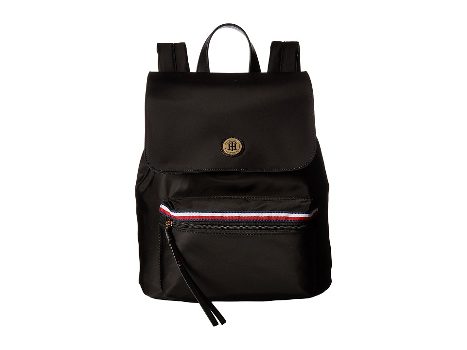 Tommy Hilfiger - Corinne II Flap Backpack (Black) Backpack Bags