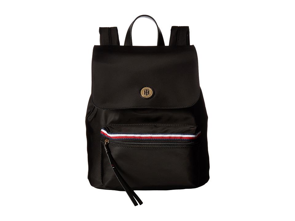 Tommy Hilfiger - Corinne II Flap Backpack (Black) Backpack Bags