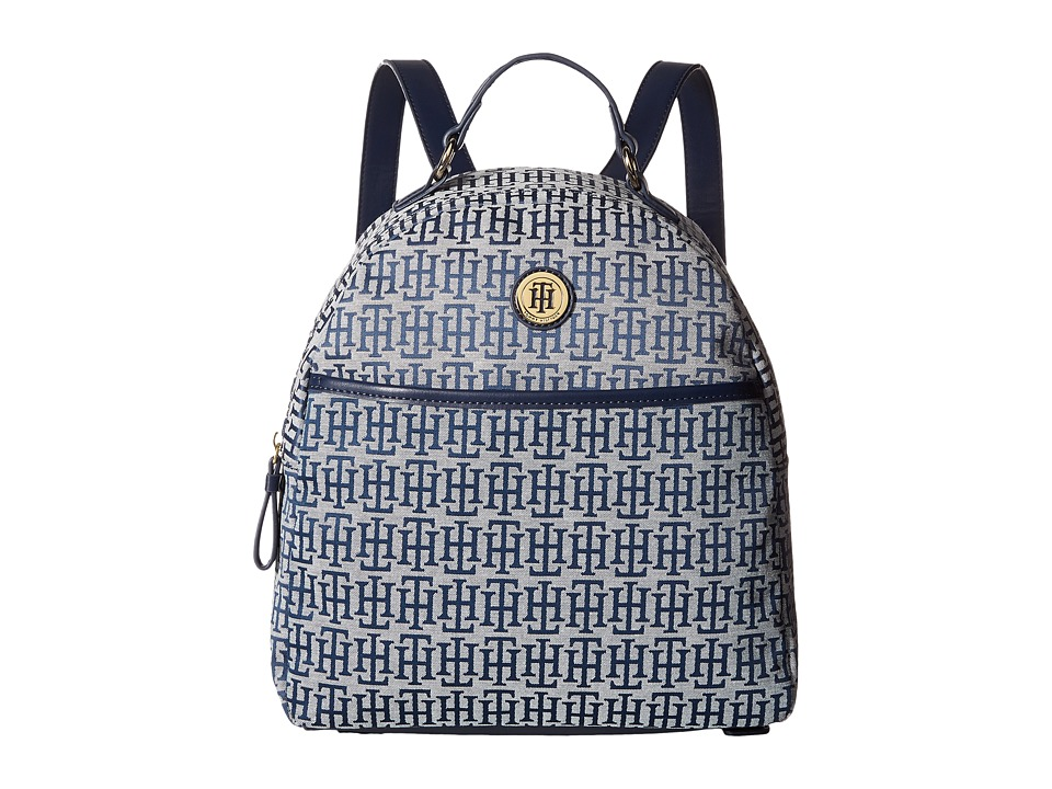 Tommy Hilfiger Alena Dome Backpack Mono Jacquard (Navy/White) Backpack Bags