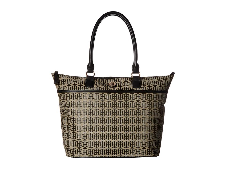Tommy Hilfiger - Alena Top Zip Tote Mono Jacquard (Black Alpaca) Tote Handbags
