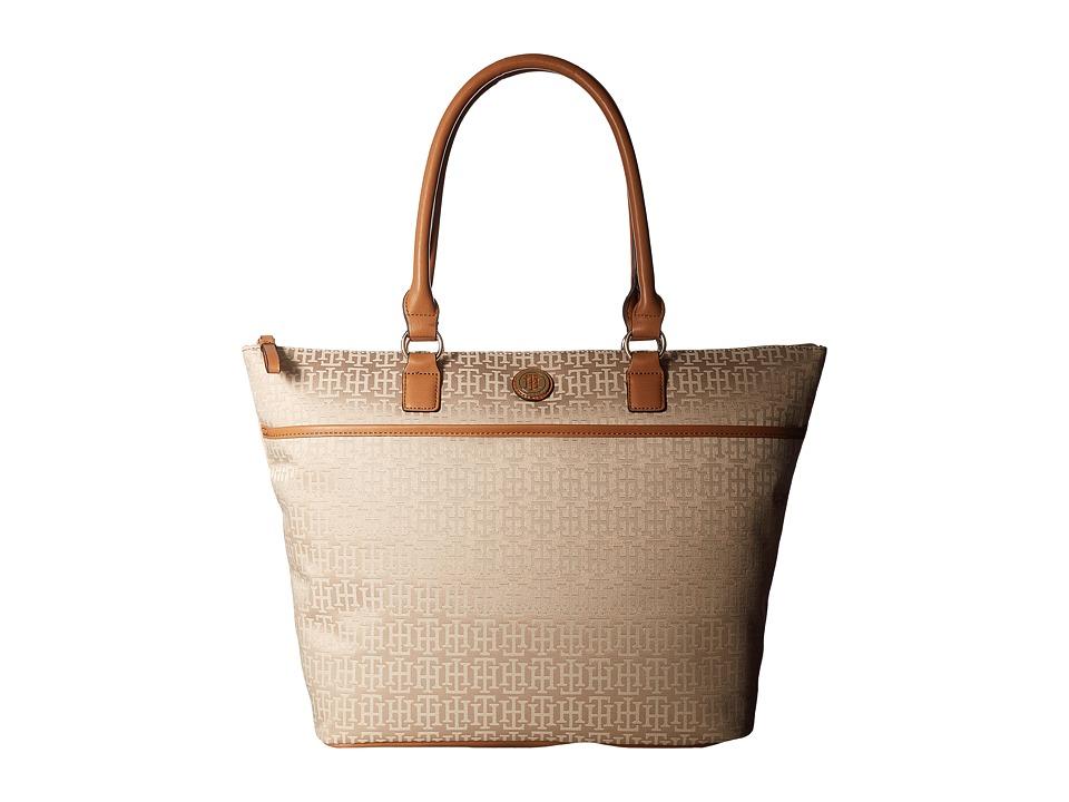 Tommy Hilfiger - Alena Top Zip Tote Mono Jacquard (Khaki Tonal) Tote Handbags
