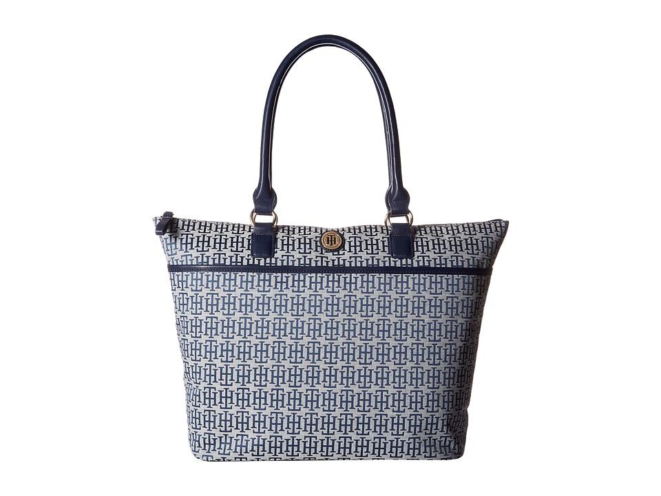 Tommy Hilfiger - Alena Top Zip Tote Mono Jacquard (Navy/White) Tote Handbags