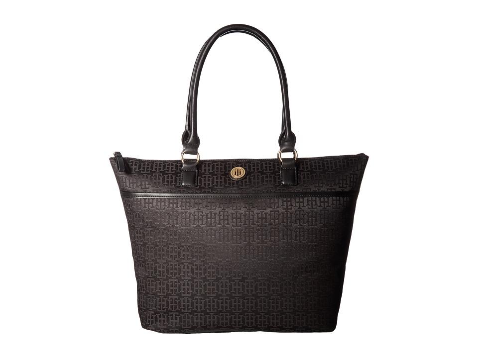 Tommy Hilfiger - Alena Top Zip Tote Mono Jacquard (Black Tonal) Tote Handbags