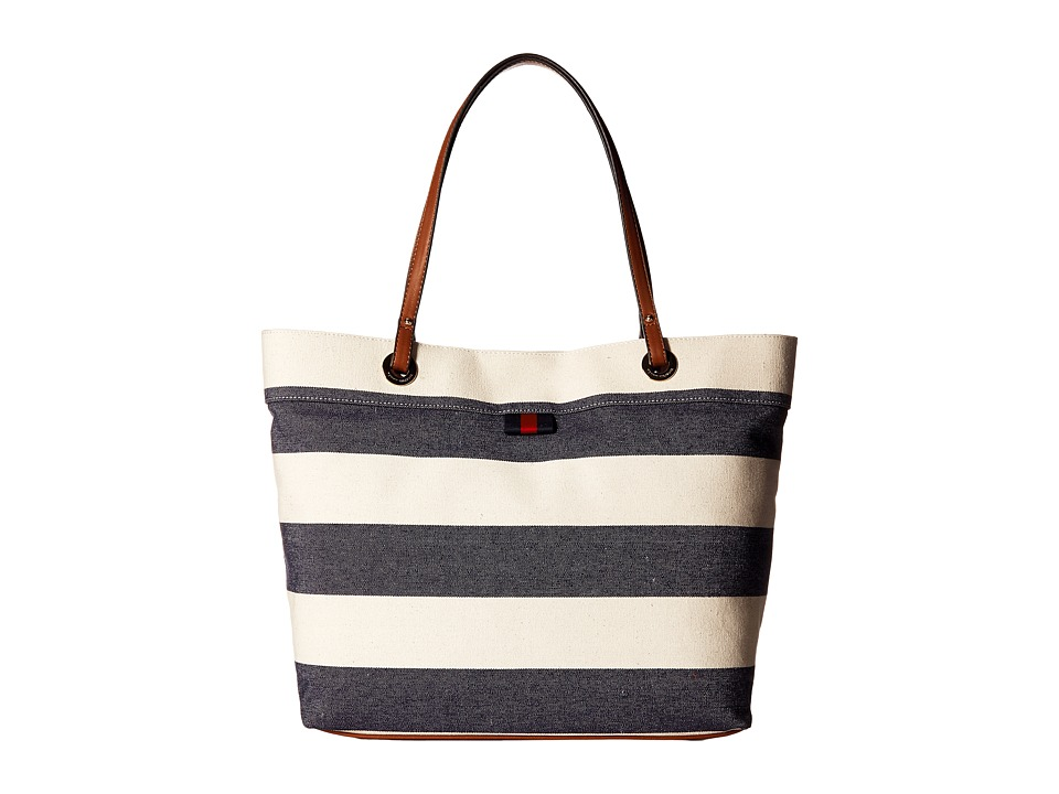 Tommy Hilfiger - TH Grommet II Large Tote Woven Rugby (Navy/Natural) Tote Handbags